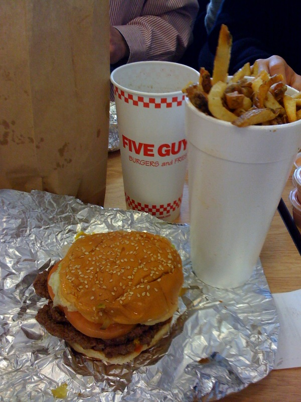 Five Guys Burger, Fries and Cherry Coke