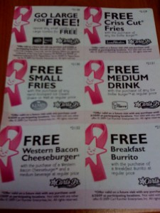 Carl's Jr. Breat Cancer Awareness Donation Coupons