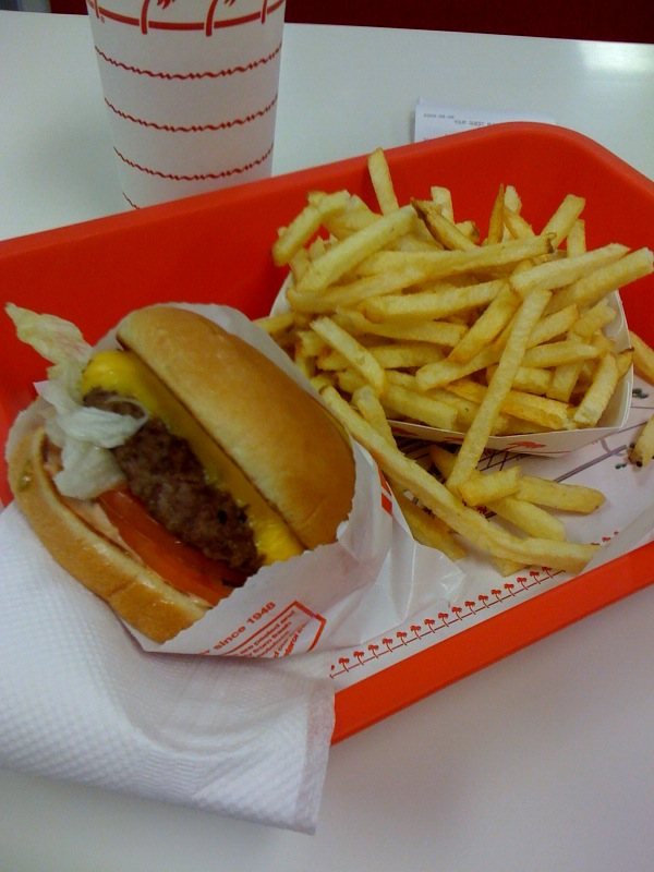 in-n-out cheeseburger meal