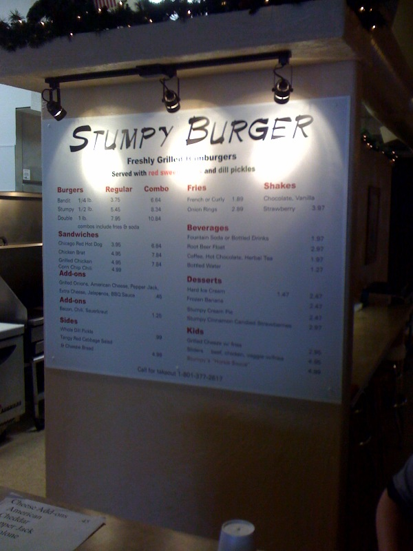 stumpy burger menu