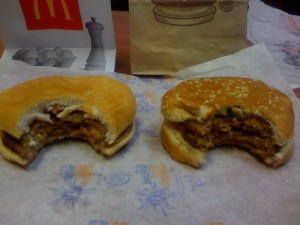 First Bite of McDouble and Buck Double
