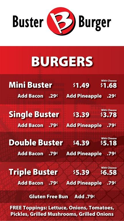 Buster Burger Menu