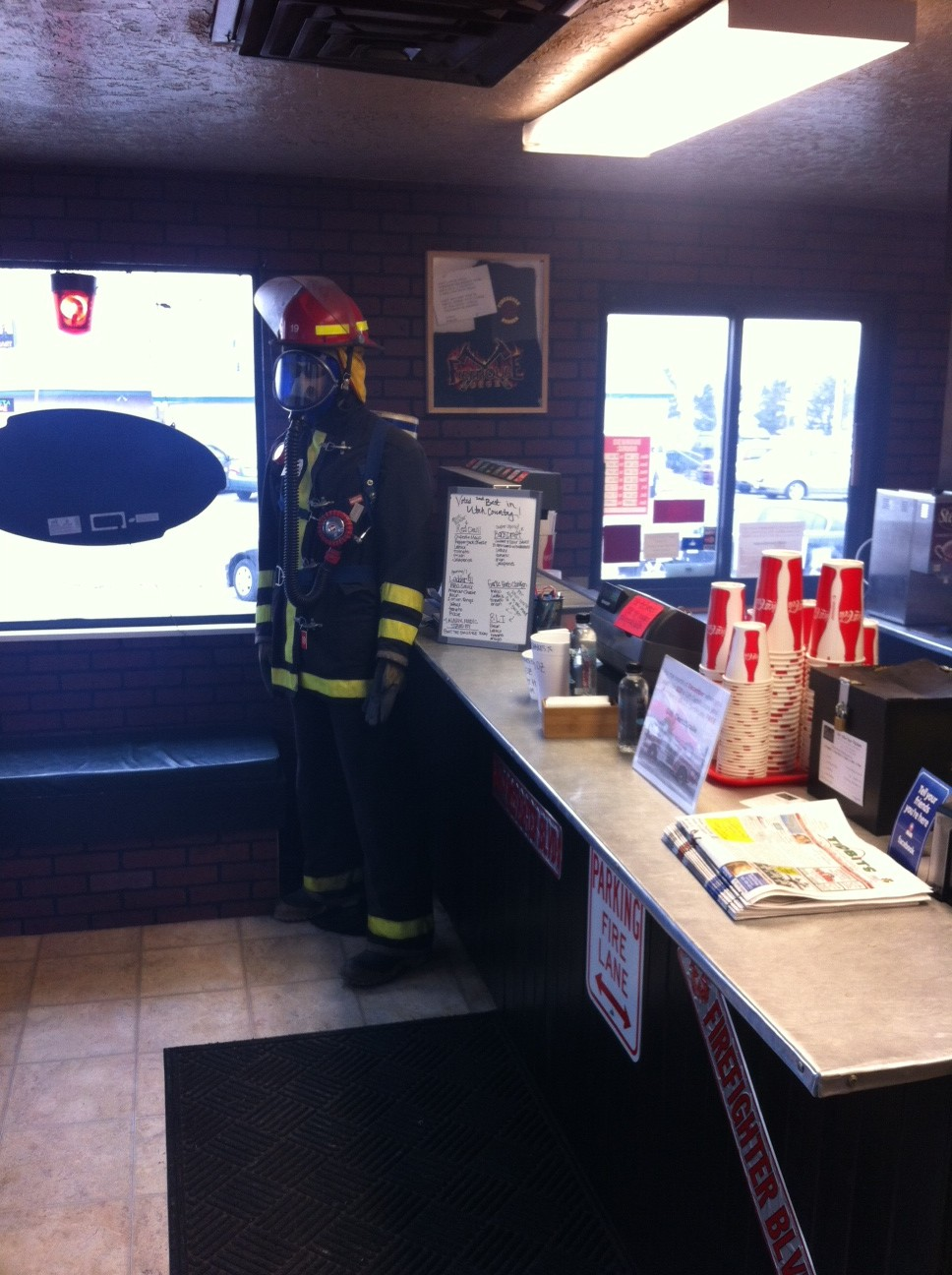 firehouse burger fireman at the front counter