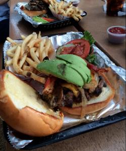Farm Burger and fries at Joe's Farm Grill